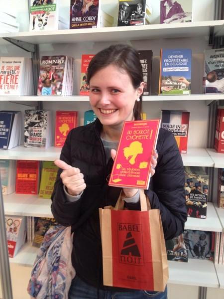 Avec une lectrice belge, salon du livre Bruxelles