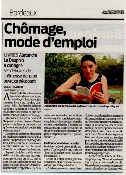 Journal Sud Ouest 09.08.14
